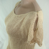 Knitted, Short Sleeve Camel Spring Summer Blouse by Arzu's Style