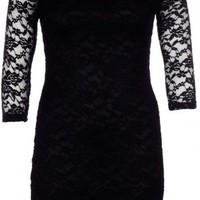 Lace Over Lay 3/4 Sleeve Dress