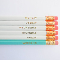 Hello Weekend Pencils  White Aqua & Gold Set by AmandaCatherineDes