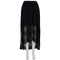 Black lace insert raised front maxi skirt - maxi skirts - skirts - women