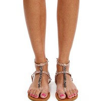Nude Studded Gemstone Sandals