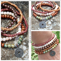 Stackable Stretch Bracelets with Double sided Oriental Charm - Peacock Metallic Glass, Wood, Cats Eye, Painted Glass