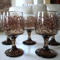 MAD MEN PARTY Vintage Glasses Lovely Smoked Glass Pedestal Stemware Wine Glasses Set of 5 Raised Scroll Pattern Mid Century  Barware