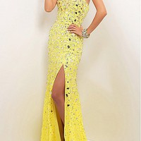 [296.99] Exquisite Chiffon Sheath Sweetheart Neckline Natural Waist Slit Floor Length Beaded Prom Dress - Dressilyme.com