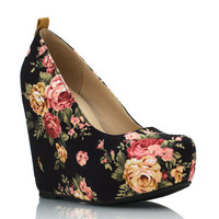 rose-print-platform-wedges BLACK NATURAL - GoJane.com