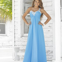 Sky Blue Ruched Chiffon Embellished One Shoulder Open Back Prom Dress - Unique Vintage - Prom dresses, retro dresses, retro swimsuits.