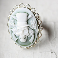 Guns and Roses Smokey Green Skull Cameo Ring in by PoshAdornments