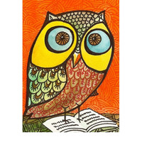 "Aceo miniature original painting of a ""Wise Owl"" room decor collectible under 20"