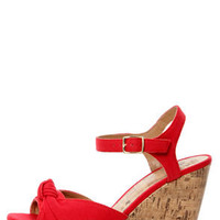 My Delicious Susie Red Cotton Knotted Peep Toe Wedge Sandals
