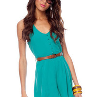 Lorena Button Belted Dress in Teal :: tobi