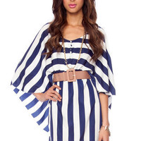 Striped Batwing Dress in Navy and White :: tobi