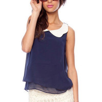 Peter Collar Sleeveless Top in Navy :: tobi