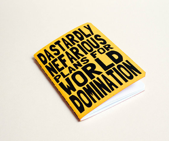 Handmade notebook World domination Yellow by purplecactusdesign