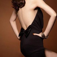 SEXY HALTER BACK BOW DRESS