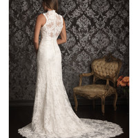 2013 Allure Bridal - White Lace & Charmeuse Scalloped Detail Wedding Dress - Unique Vintage - Prom dresses, retro dresses, retro swimsuits.