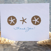 Beach Thank You Cards Star fish and Sand Dollar by RoyalRegards