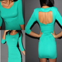 T-shirt  Fitted Green Sexy Backless Clubwear Long Sleeve Top Mini Dress S M N217