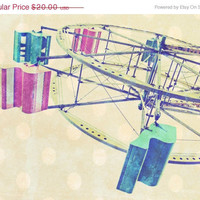 MOMS ROCK SALE Ferris Wheel Travel Photography artwork Carnival Fair Nursery Decor Art Pastels Dreamy Dots 11x14