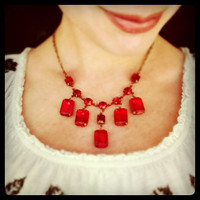 Red Vintage Rhinestone Necklace