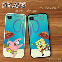 Spongebob and Patrick star twin with beach pattern : Handmade Case for Iphone 4/4s , Iphone 5 Case Iphone