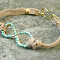 6 Turquoise Infinity Bracelet Gold Brass and Suede Beach Wedding Colors Made To Order BRIDAL PARTY DISCOUNT