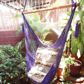 Purple Sitting Hammock Hanging Chair Natural Cotton by hamanica