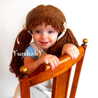 Doll Wig Cabbage Patch Inspired Baby Hat Baby Girl by YumbabY
