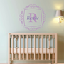 Personalized Scroll Frame and Initial Wall Decal Monogram Nursery Wall Decal Girl Name 22&quot; X 22&quot;