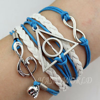 Harry potter,Harry Potter Snitch and Musical Note Bracelet,Infinity Karma Bracelet Leather Braided Bracelet Personalized Gift-N1176