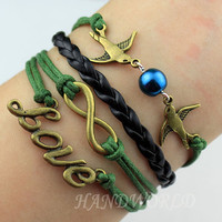 Bronze Love Bracelet Infinity Karma Bracelet Lover Birds Bracelet Cute Personalized Jewelry Gift-N1174