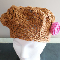 Brown Cotton Crochet Hat, Womens Beret, Brown Cotton Tam, Spring Fashion Hat, Summer Hat, Crochet Beret, Spring Beanie, Mom Gift, Womens Cap