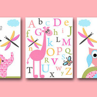Baby Girl Nursery art print Childrens Wall Art Baby Room Decor Kids Print set of 3 11x14 nursery alphabet nursery Elephant giraffe owls rose