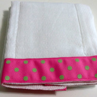 Baby Burp Cloth  Pink  with Green Dots