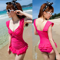 New Lovely Womens Monokini One Piece Swimsuit Low Cut Layered Bathing Suit