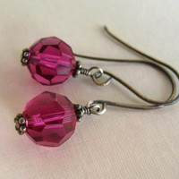Hot Pink Earrings Beaded Sterling Silver Jewelry Fuchsia Swarovski Crystal Earrings
