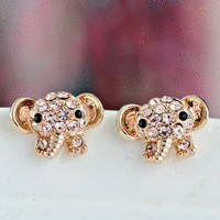 Cute Elephant Rhinestone Fashion Earrings  | LilyFair Jewelry