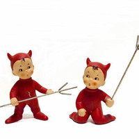 Vintage Little Devil Figurines 1950s Japan Pitchforks Boys
