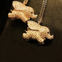 Twinkling Luck Elephant Pendant Necklace [AN0766] - &amp;#36;18.99 :