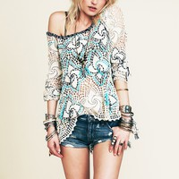 Free People Crochet with Strings Pullover