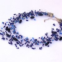 Dark Blue Necklace. Beaded Multistrand Necklace. Beadwork