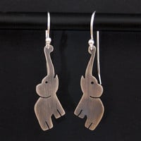 Silver Elephant Earrings Elephant Jewelry by OffbeatMelody