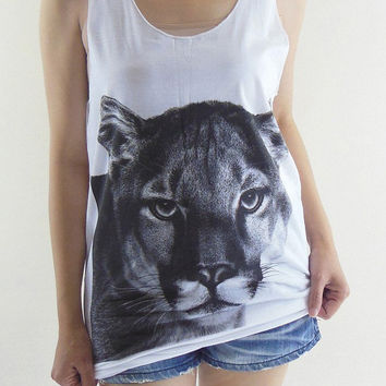 Lion Shirt Tiger Shirt -- Lion T-Shirt Tiger T-Shirt White Shirt Animal Shirt Tank Top Women T-Shirt Tunic Vest Sleeveless Singlet Size M