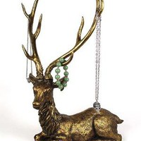 PLASTICLAND - Large Antiqued Antlered Deer Jewelry Holder