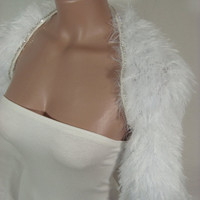 Knitted, Soft Fur (White) Short Sleeve, Rhinestone, Wedding, Bridal, Bolero, Shrug by Arzu's Style