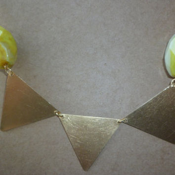 Lemon agate and brass triangle statement by littlepancakes on Etsy
