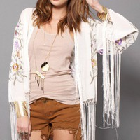 Embroidered Fringe Jacket