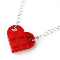 Retro Block Heart Necklace - Red