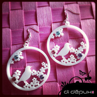 Bird and daisies acrylic laser cut swarovski earrings by didepux
