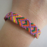 BRIGHT TRIBAL Friendship Bracelet  Wish Bracelet  by greenyogini