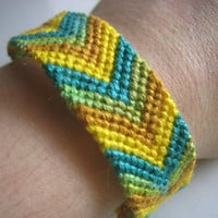 TEAL &amp; GOLD CHEVRON Friendship Bracelet  Wish by greenyogini